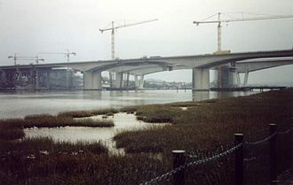 Medway Viaducts - The new viaducts under construction in the early 2000s