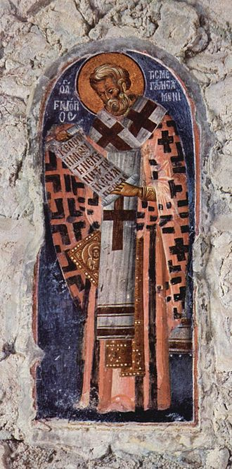 Epigonation - Fresco of St Gregory the Great wearing a gold epigonation (the half-visible rhombus behind the Omophorion) embroidered with an icon (14th century, Mistra).