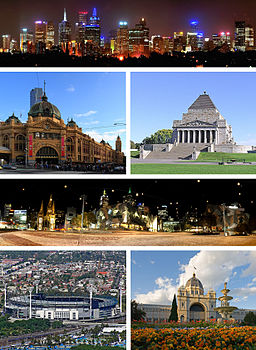 Topp: Melbourne City Centre, mitten/vänster: Flinders Street Station, mitten/höger: Shrine of Remembrance, mitten: Federation Square, nere/vänster: Melbourne Cricket Ground, nere/höger: Royal Exhibition Building.