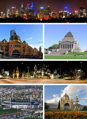 Haut : Panorama nocturne de la ville de Melbourne.2e ligne : la gare de Flinders street et The shrine of Remembrance.3e ligne : Federation Square.Bas : Melbourne Cricket Ground et le Palais royal des expositions.