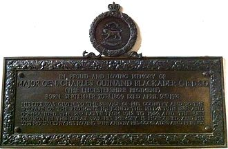 Charles Blackader - Memorial to Major General Charles Guinand Blackader in Leicester Cathedral