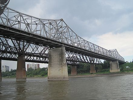 Three bridges over the Mississippi Memphis Arkansas Bridge Memphis TN 2012-07-22 016.jpg