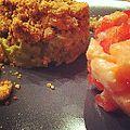 Merci Nat pour ce repas ! Tartare de saumon et crumble d'avocat parmesan ... Je reviendrai ! (7817300488).jpg