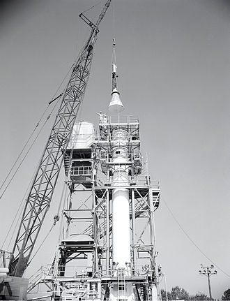 Redstone Test Stand -  Installation of a Mercury capsule on the Mercury-Redstone Test Booster (TB) for Full (110-116 sec) runs, May 1960