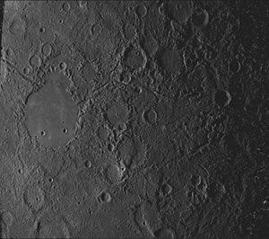 Caloris Planitia - Hilly, lineated terrain at the antipode of Caloris.