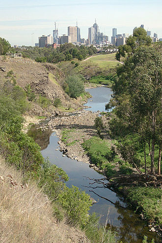 Merri Creek - The Merri Creek passing through Fairfield and Clifton Hill with Melbourne city skyline in the distance.