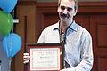 Mike Christie with his Wikimedia award.jpg