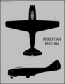 Mikoyan-Gurevich MiG-9M two-view silhouette.png