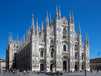 Italian Gothic architecture - Duomo di Milano from the Square