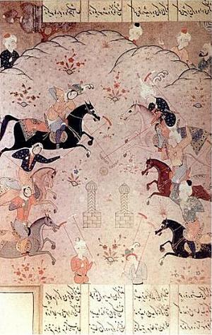 Chovgan -  A 16th century miniature depicts a chovgan game in the story of Khosrow and Shirin of Nizami Ganjavi