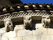 Around the upper wall of the chancel at the Abbaye d'Arthous, Landes, France, are small figures depicticting lust, intemperance and a Barbary ape, symbol of human depravity.pic P Charpiat