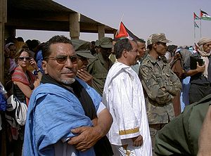 Polisario Front - Mohamed Abdelaziz, the Polisario Front secretary-general (in white).