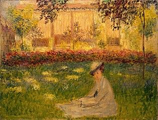 Femme assise dans le jardin