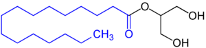 Mono- and diglycerides of fatty acids - Monoglyceride of a fatty acid, in this example with a saturated fatty acid residue (blue marked).