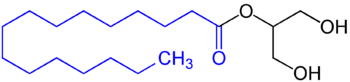 Monoglyceride of a fatty acid, in this example with a saturated fatty acid residue (blue marked).