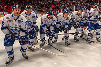 Leksands IF - Leksand players celebrating a victory against arch rivals Mora IK in 2013.