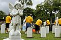 More than 40 Sailors assigned to the guided-missile destroyer USS Chafee and various commands clean the Navy Veterans Cemetery in Honolulu in preparation for Veterans Day, Nov. 11. DVIDS222256.jpg