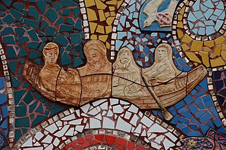 Comgall - Saint Comgall and monks from Bangor Abbey, Bangor harbour mosaic