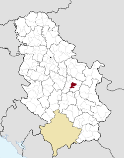 Location of the municipality of Ćuprija within Serbia