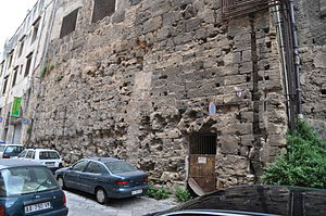 Palermo -  A brief stretch of Palermo's Phoenician defence wall, now enclosed in the Santa Caterina Monastery.