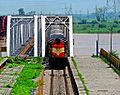 Muzaffarpur Anand Vihar Terminal Garib Rath Express crossing Garhmukteshwar bridge at 110 kmph.jpg