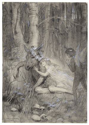 A Midsummer Night's Dream - A drawing of Puck, Titania and Bottom in A Midsummer Night's Dream from Act III, Scene ii by Charles Buchel
