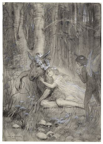 A drawing of Puck, Titania and Bottom in A Midsummer Night's Dream from Act III, Scene II by Charles Buchel, 1905 My Mistress with a Monster is in Love.jpg
