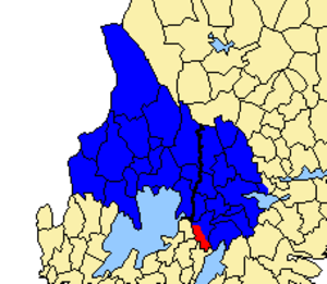 Närke and Värmland County - Närke and Värmland County 1654-1779 (blue). Marked in red is Tiveden, which later was added to Örebro County.