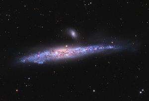 Aufnahme der langgestreckten Galaxie NGC 4631  und der kleineren, darüberliegenden Galaxie NGC 4627 mit einem 60-cm-Teleskop.