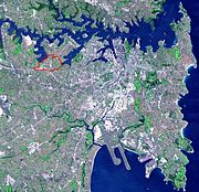 NASA satellite image PIA03498 of Sydney, cropped, and modified to show Five Dockl borders