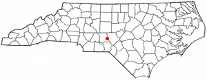 Candor, North Carolina - Image: NC Map doton Candor