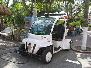 Neighborhood Electric Vehicle - A GEM e2 used by the Tourist Police in Playa del Carmen, Mexico, being recharged