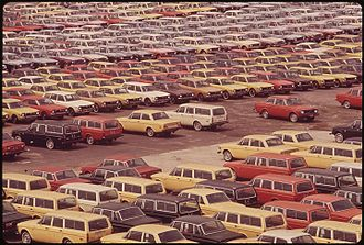 Port of Baltimore - New cars waiting for shipment, 1973