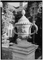 NORTH FRONT, DETAIL OF ORNAMENTAL URN - Clark House, Hillsborough, San Mateo County, CA HABS CAL,41-HILBO,2-5.tif