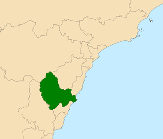 Electoral district of Wyong - Location in the Central Coast region