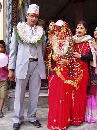 Hindu wedding - Groom and bride in a Nepali Parbatiya wedding at Narayangarh, Chitwan