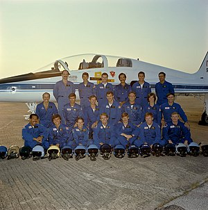 NASA Astronaut Group 9 - Group 9 astronauts. Back row, L-R: Gardner, Springer, O'Connor, Ockels, Smith, Lounge. Middle row, L-R: Bagian, Blaha, Nicollier, Hilmers, Fisher, Dunbar, Ross. Front row, L-R: Bolden, Chang-Diaz, Cleave, Leestma, Spring, Richards, Bridges.
