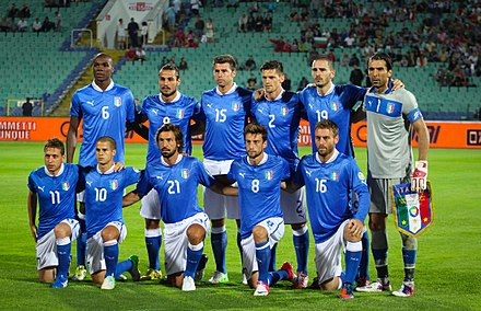 The Azzurri, here players of 2012, is the men's national football team. Nat team of italy 2012.jpg