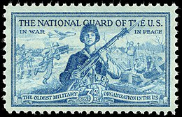 National Guard 3-cent 1953 issue U.S. stamp. The National Guard of the US - In War - In Peace - The Oldest Military Organization in the US.