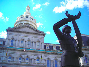 """War Memorial Plaza - """"Negro soldier"""" statue by sculptor James E. Lewis from 1971 in front of east side of City Hall, relocated 2007 from Battle Monument Square"""