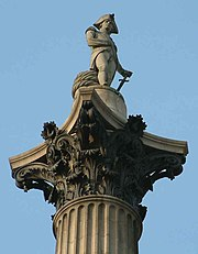 Nelson on top of his column in Trafalgar Square