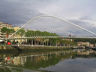 Nervión - River Nervion with Zubizuri footbridge.