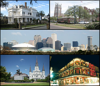 Dari kiri atas: St. Charles Avenue,Loyola University dan Tulane University, pemandangan Central Business District, Jackson Square, dan pemandangan Royal Street di French Quarter.