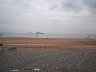 South Beach, Staten Island - Hoffman Island on left and Swinburne Island on the right as seen from the boardwalk at South Beach, Staten Island