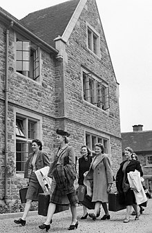New recruits to the Women's Land Army arrive at the Northampton Institute of Agriculture at the start of four weeks training in 1942. D8794.jpg