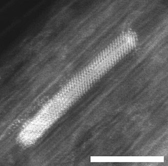 Nickel - Electron micrograph of a Ni nanocrystal inside a single wall carbon nanotube; scale bar 5 nm.