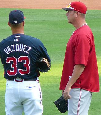 Javier Vázquez - Vázquez (left) with former White Sox teammate Nick Masset in 2009