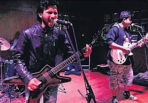 Music of India - Nicotine playing at 'Pedal To The Metal', TDS, Indore, India in 2014. The band is known for being the pioneer of Metal Music in Central India.