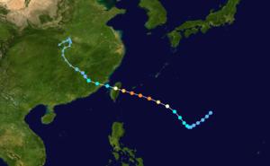 Typhoon Nina (1975) - Image: Nina 1975 track