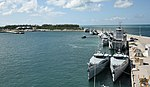 Nine ships from the Royal Bahamas Defence Force, research vessel Walton Smith and a contract vessel take shelter at Naval Air Station Key West's Mole Pier. (30108609591).jpg